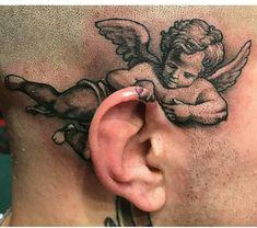 Tattoo de anjo tatuagem de anjo Tatuagem na cabeça tatto na cabeça