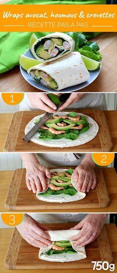 Hummus Avocado und Shrimps Wraps – larevuedekathleen Wraps avocat houmous et crevettes Wraps mit Avocado, Hummus und Garnelen Avocado Hummus, Avocado Wrap, Avocado Toast, Shrimp Avocado, Avocado Salad, Healthy Meals To Cook, Good Healthy Recipes, Easy Meals, Salad Recipes Healthy Lunch