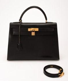Hermes : black box calf leather 'Kelly 32' vintage tote bag