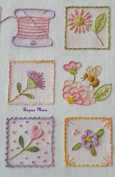 Embroidery Inspiration Hand Stitching Needlework Ideas For 2019 Brazilian Embroidery Stitches, Hand Embroidery Stitches, Crewel Embroidery, Hand Embroidery Designs, Vintage Embroidery, Embroidery Techniques, Embroidery Kits, Cross Stitch Embroidery, Machine Embroidery
