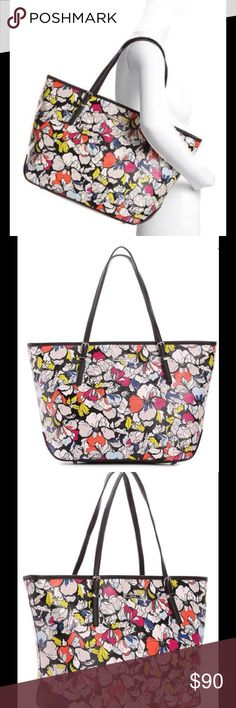 """25% OFF SALENine West It Girl Floral Tote Brand new with tags. Floral print faux leather tote. Top zip closure. Flat handles with 9"""" drop and decorative buckle detail. Fabric lining with center zip compartment, zip pocket and two slip pockets. Dimensions 18"""" x 5"""" x 11"""" NO OFFERS PLEASE Nine West Bags Totes"""