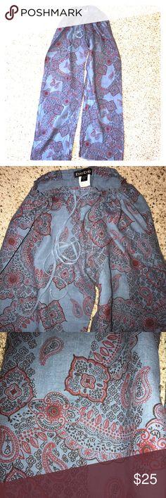 💯 % Linen Drawstring Pants New condition. Never worn. Gorgeous denim blue/dark red paisley print. Very beachy 😎. Drawstring waist. Loose fit. Wide leg. bebe Pants Wide Leg