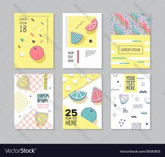 Abstract Memphis Style Posters Set. Geometric Shapes Cards. Trendy 80s-90s Patterns. Vector illustration. Download a Free Preview or High Quality Adobe Illustrator Ai, EPS, PDF and High Resolution JPEG versions.