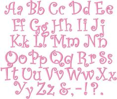 Bold Curlz curls font alphabet 1 inch AND 1 and a half inch embroidery design instant download