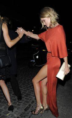 high heels + red dress