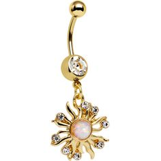 Clear Gem White Faux Opal Gold Anodized Sunburst Dangle Belly Ring | Body Candy Body Jewelry