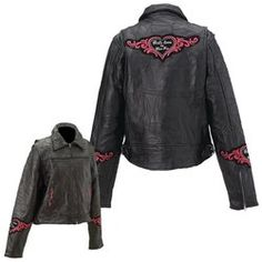 Diamond Plate™ Rock Design Ladies' Genuine Leather Jacket $75