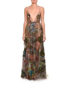 Embellished+Sleeveless+V-Neck+Gown,+Black+by+Valentino+at+Neiman+Marcus.