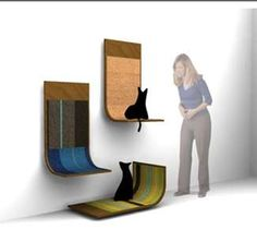 Wall-Mounted Scratching Posts: Bent Plywood Scratcher Saves on Floor Space