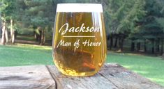 Man of Honor Glass, Personalized Male Bridesmaid Glasses Custom Stemless Wine Gift for Brides man Wedding Party Glasses by CountryLivinDesignCo on Etsy