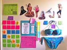 Anatomy of a motivation wall; fitspo pictures, bikini, inspiring quotes, quick killer workouts, pounds to lose and 21 workout days in rip-offable sticky notes!