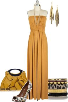 """Gold Maxi Dress"" by junebug0617 ❤ liked on Polyvore"