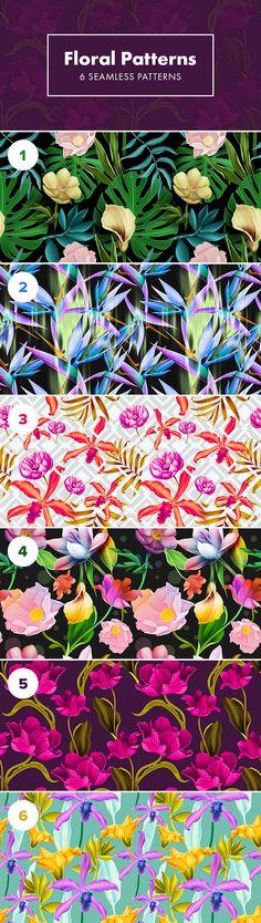 6 Seamless Floral Patterns - download freebie by PixelBuddha
