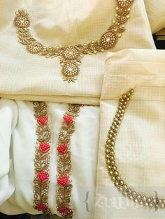 Blouse or kurta neck designs. So classy. Will get for Maa.