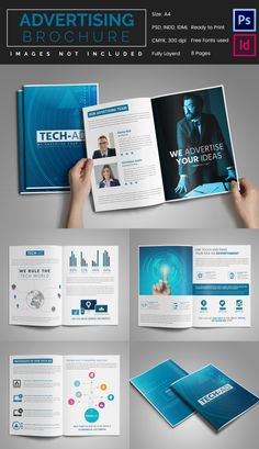 Trifold Brochure Design On Computer And Tech Brochure Research - Advertising brochure templates