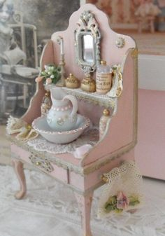 Miniature sideboard with pitcher and basin #shabbychic