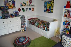 boys super hero marvel dc bedroom. And my boy Loves his super heroes!