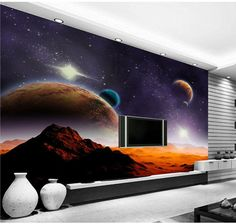 Alien universe Star 3D stereoscopic television background wallpaper murals living room bedroom study paper wallpaper