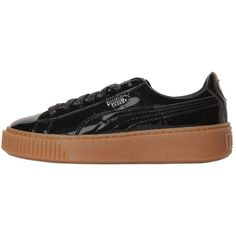 Puma Select Women Basket Platform Patent Sneakers (€86) ❤ liked on Polyvore featuring shoes, sneakers, black, puma shoes, black sneakers, black patent sneakers, black patent shoes and platform shoes