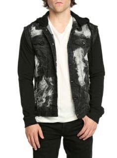 b7aff24f00 RUDE Black Crinkle Convertible Sleeve Hooded Jacket