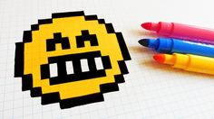 Handmade Pixel Art - How To Draw a Emoji Pixel Drawing, Motifs Perler, Diy Perler Beads, Minecraft Pixel Art, Pictures To Draw, Art Sketchbook, Cross Stitch, Drawings, Anime