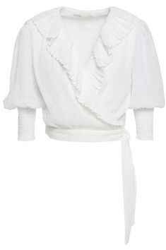 Wrap Blouse, Ruffle Blouse, Maje Clothing, Most Popular Shoes, Popular Outfits, Denim Shop, Summer Blouses, Vogue, Jacket Dress