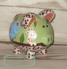SMALL Zambia artisan hand painted ceramic personalized custom Safari piggy bank elephant, giraffe, monkey