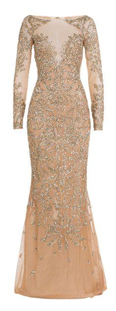 Beaded blush gown / Zuhair Murad