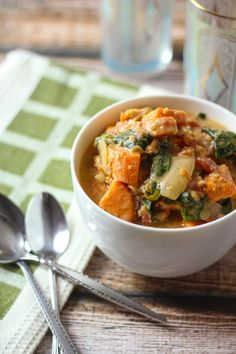 Ethiopian Berbere-Spiced Lentils with Sweet Potatoes, Spinach, and Coconut Milk.