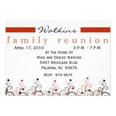 Swirl Tree Roots Antiqued Family Reunion Invite  X  Invitation