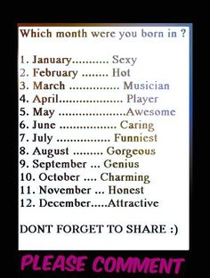 I was born in the Charming month ;) Comment below what month you were born in!im noy charming though What Month, December Baby, I Love Music, Birth Month, Photos Of The Week, Zodiac Signs, Cool Photos, Funny Pictures, Personality Tests