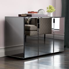 On the surface, our Mirror Media Credenza makes a glam first impression. Looks great reflecting a family room, dining room or entryway. Mirrored Furniture, Dining Furniture, Dining Rooms, Accent Furniture, Dining Lighting, Hallway Lighting, Modern Cabinets, Media Cabinets, Store Interiors