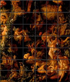 TILES  The Victorian Fairies are born from Shakespeare's A Midsummer Night's Dream, and adapted from the Quarrel of Oberon and Titania (1849) by Joseph Noel Paton, Scottish artist and sculptor.