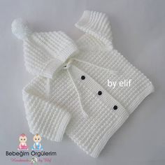 Handmade Craft Creations A very beautiful neckline for babies. - Handicraft Deryası Creations We have discussed making a very nice collared hooded cardigan for bab - Baby Knitting Patterns, Baby Cardigan Knitting Pattern Free, Knitted Baby Cardigan, Knitted Baby Clothes, Hand Knitted Sweaters, Baby Sweaters, Crochet Clothes, Hooded Cardigan, Baby Bunny Costume