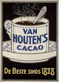 Van Houten's Cacao, the Vintage Advertising Posters, Old Advertisements, Vintage Posters, Vintage Images, Pub Vintage, Vintage Labels, Vintage Wall Art, Vintage Prints, Retro Poster