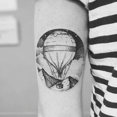 Lee Scoresby's Hot Air Balloon Tattoo, by Tom at Blackdot Tattoo - Glasgow, Scotland