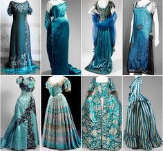 """warpaintpeggy: """" some of my favorite vintage dresses ↳ blue """" 1800s Fashion, Victorian Fashion, Vintage Fashion, Pretty Outfits, Pretty Dresses, Beautiful Dresses, Vintage Gowns, Vintage Outfits, Old Dresses"""