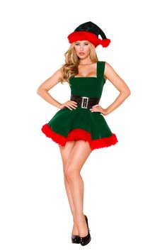 8c034b8274c8b Sexy Roma Red Green Christmas Head Elf Mrs. Claus Santa s Lil  Little  Helper Holiday