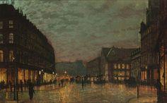 Boar Lane, Leeds by lamplight (1881) by John Atkinson Grimshaw