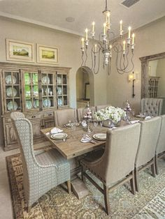 Classic Neutral Dining Room With Mahogany Furniture