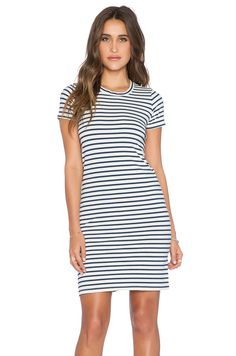 MONROW Blue Stripe Dress in Natural | REVOLVE