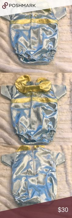 Baby boys bubble suit Brand new never worn size 3/6 custom ordered silk satin material baby blue with Swarovski crystals So So Cute it does not have the tag but is new and never been wore my son didn't get the chance to wear One Pieces Bodysuits