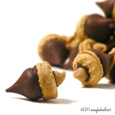 Acorns. Box of peanut butter wafer cookies, bag of hershey kisses, mini butterscotch chips, & chocolate frosting. lay kisses on hot baking sheet to soften bottoms. Stick to wafer. Dip butterscotch chips into frosting & stick to tops. **Bring for Friday TA in fall.
