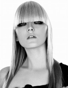 As a model you may be asked to drastically change your hair. (Take this model and her straight cut fringe.) This is something to think about before entering the world of modelling. If you don't want to change your hair, that's fine, but it might limit your chances of finding work.