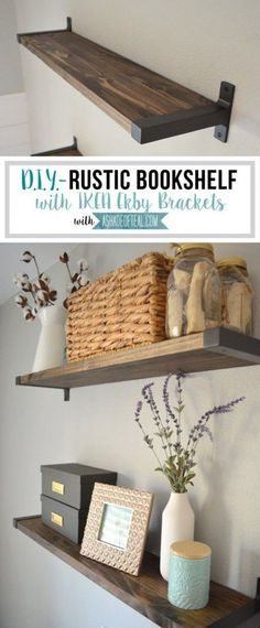 You have to see this tutorial on how to build #DIY rustic floating shelves with IKEA brackets #HomeDecorIdeas #RusticDecor #LivingRoomDecor @istandarddesign