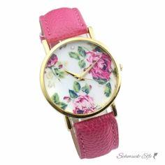 Damen Armbanduhr vintage Rosenblüten mit Zirkonia...