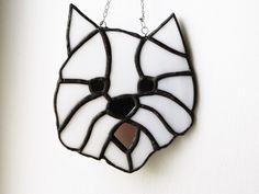 Westie art, Stained Glass, window Suncatcher, dog lovers, light sun catchers, Hanging gift, glass art ornament, House warming, copper foil by BelleVerreBon on Etsy