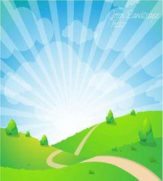 تصميم مروج رائعة اعشاب واشجار وسحب وشمس جميلة ملف مفتوح