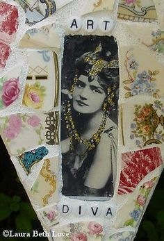 Art Diva broken china mosaic heart