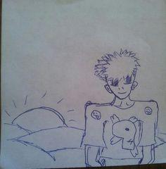 """Vor dem Sonnenuntergang"" Manga Junge mit Totenkopf shirt (Rasmus, 8 Kahre)"